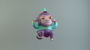 3d model character design illustration digital art monkey purple electric kikazaru renegades of phong drawing