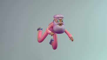 3d renegades of phong digital art character design illustration render player runner beard pink purple blue
