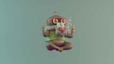3d character digital art illustration design iwazaru reggae chase the devil red green yellow rasta baboon renegades of phong onelove
