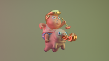 3d character digital art illustration design pig donald trump sausage devil blue red white asshole renegades of phong