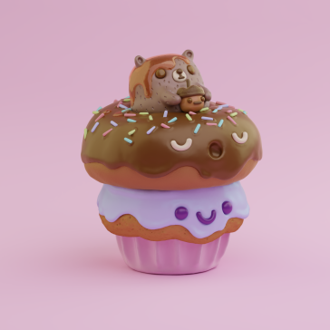 3d character digital art illustration design donut cupcake raccoon kawaii kaomoji sweet things pink purple chocolate renegades of phong