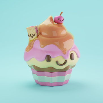 3d character digital art illustration design kawaii kaomoji ice-cream candy sweet cherry cookie honey renegades of phong