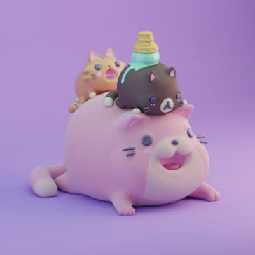 3d character digital art illustration design kawaii kaomoji ice-cream candy sweet cat cats pink renegades of phong