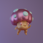 3d mushroom renegades of phong digital art character design illustration